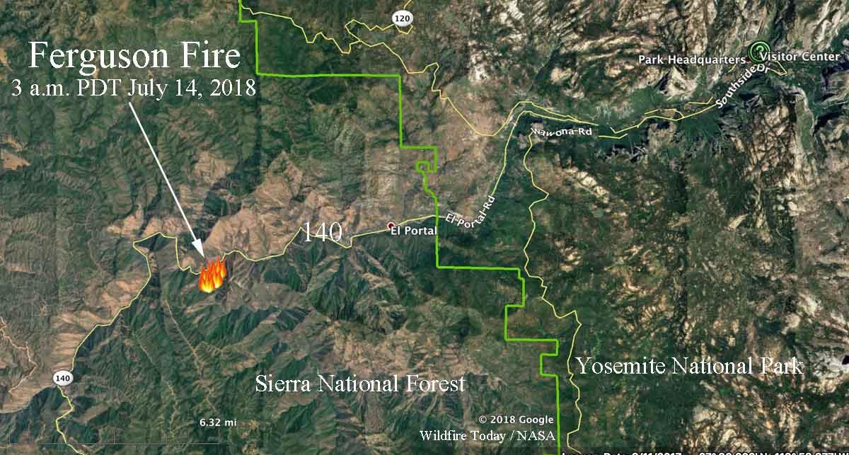 Ferguson Fire burning west of Yosemite National Park ...
