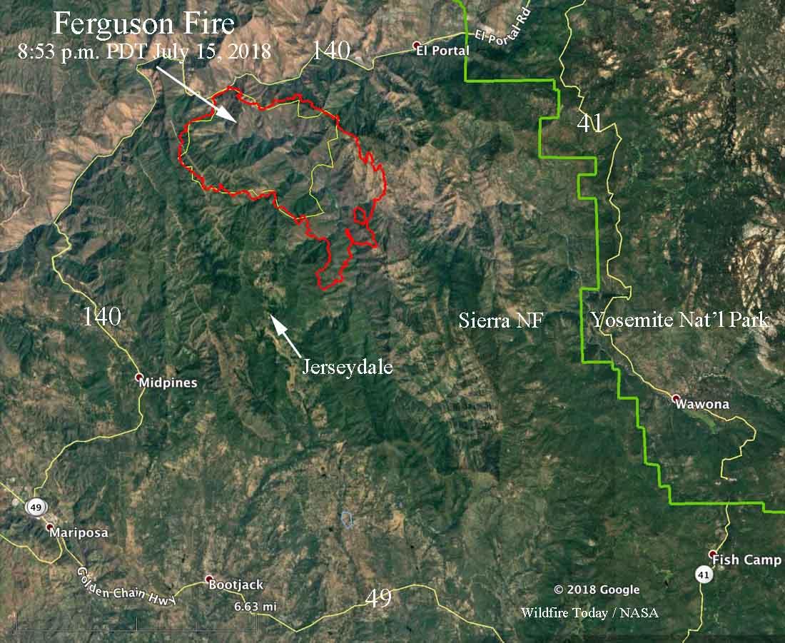 Ferguson Fire California Map.Fergusonfire 853pmpdt 7 15 Wildfire Today