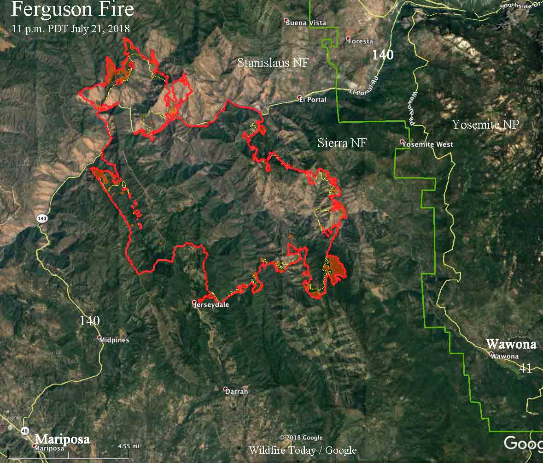 Ferguson Fire California Map.Ferguson Fire Spreads North Across Merced River Wildfire Today