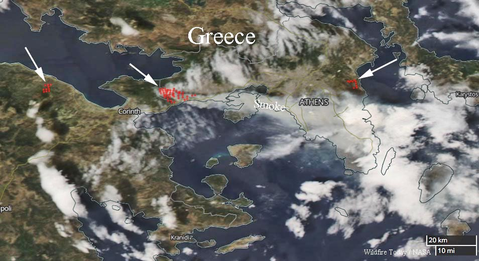 map fires Greece wildfires