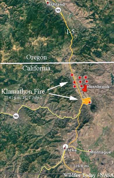 map Klamathon fire