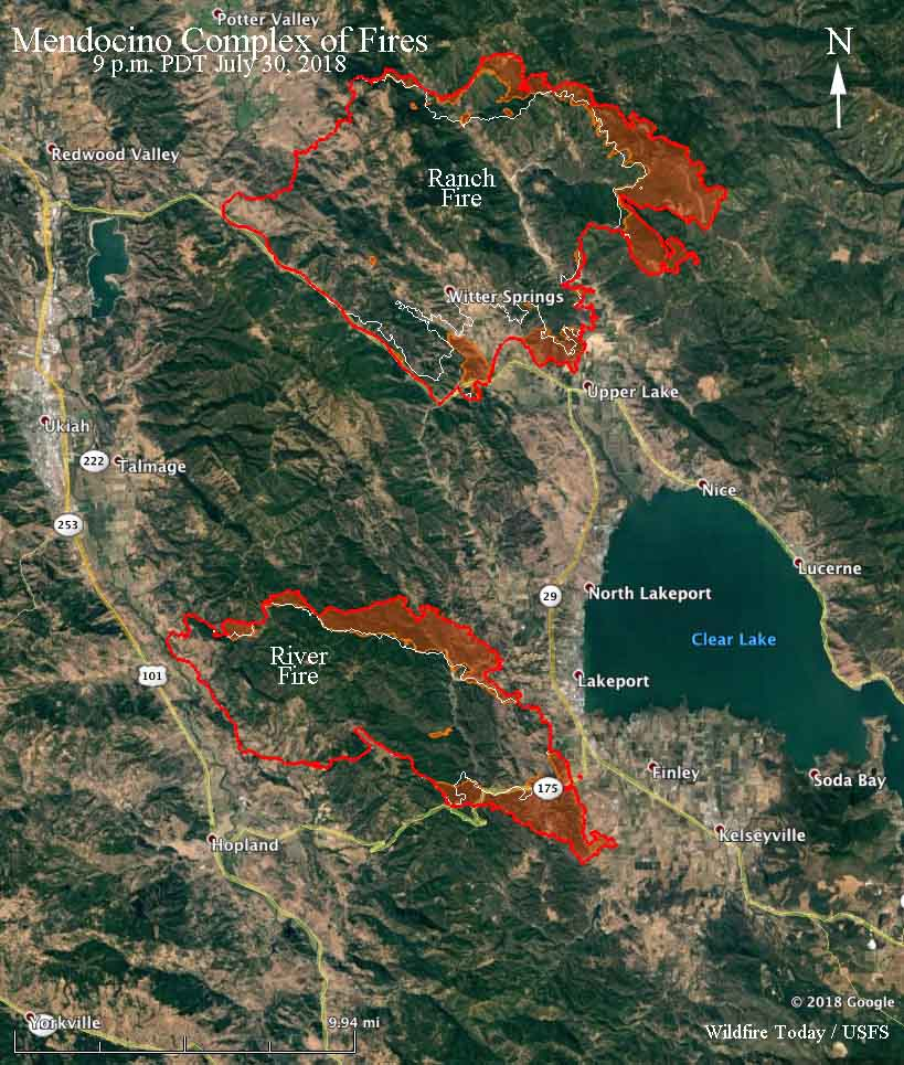 Firefighters on the Mendocino Complex battle to protect structures around Clear Lake