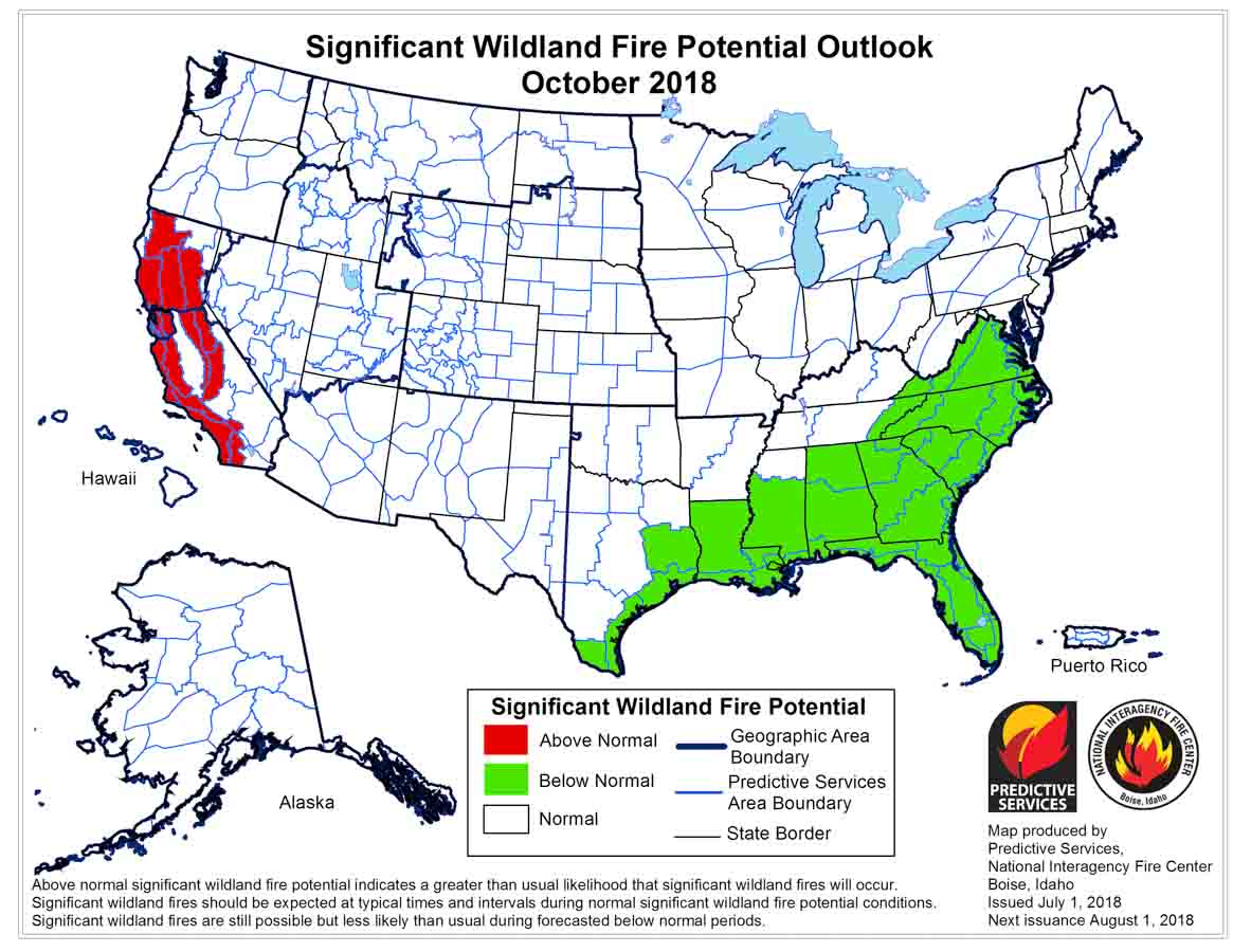 wildfire potential october