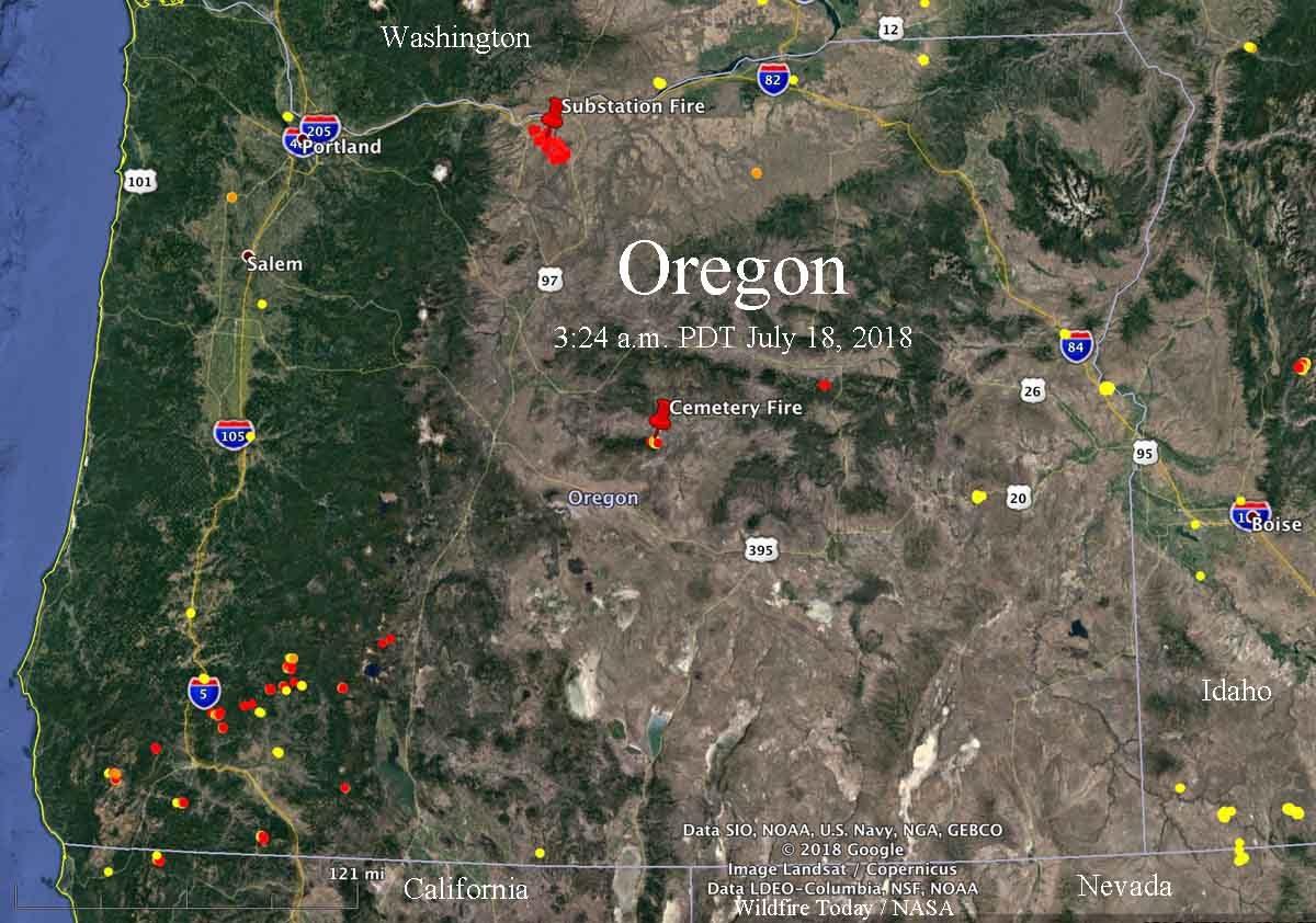 oregon fires lightning map