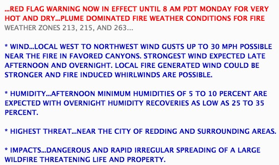 Red Flag Warning Redding, California