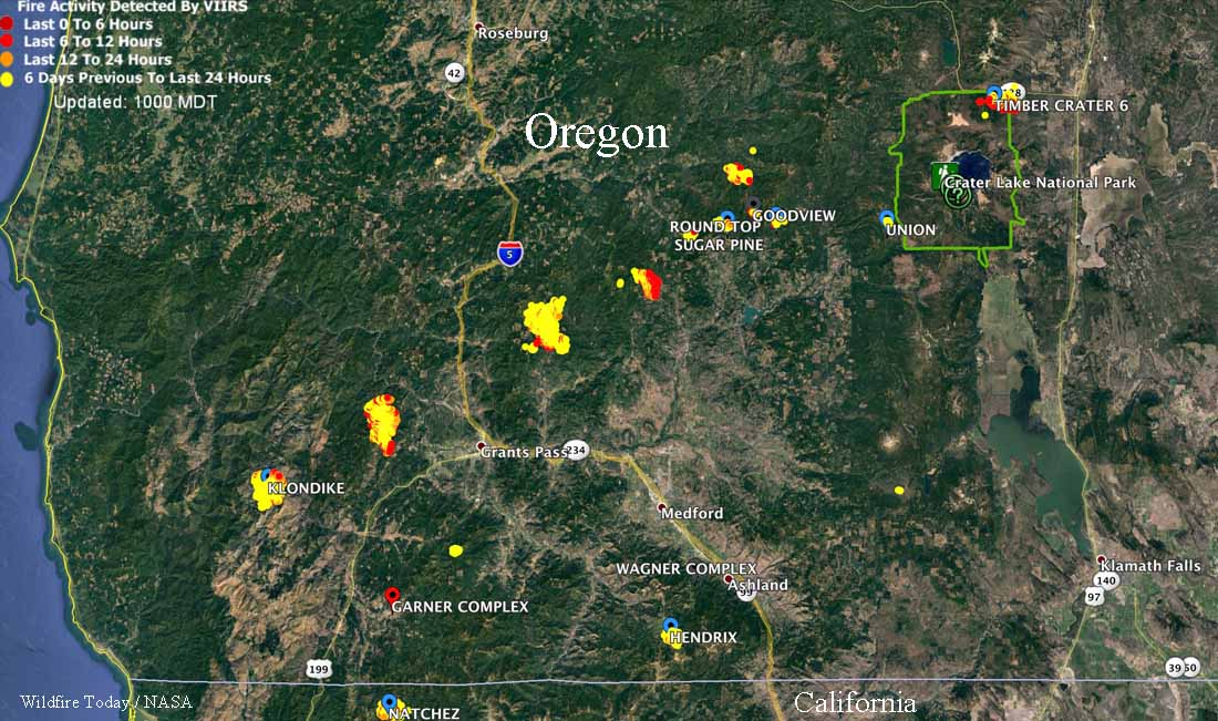 Fires in Southwest Oregon were very active Sunday