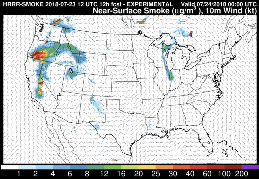Smoke forecast for July 23, 2018