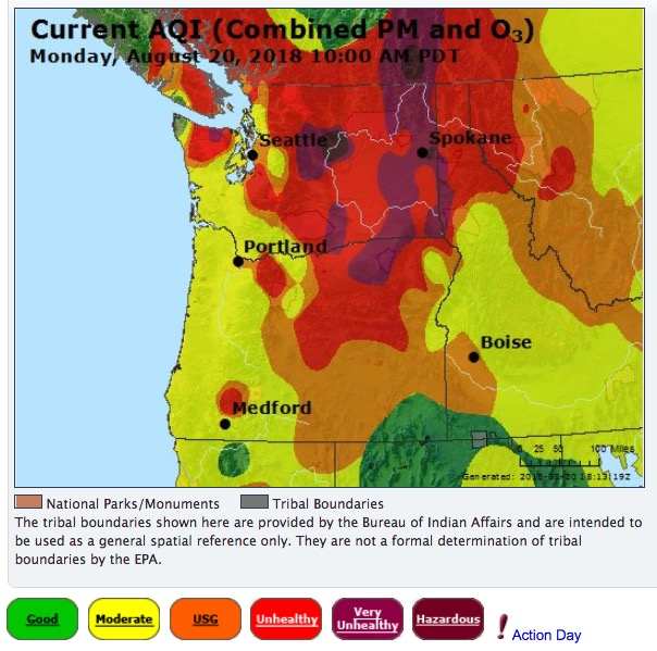 Air quality, Oregon and Washington,