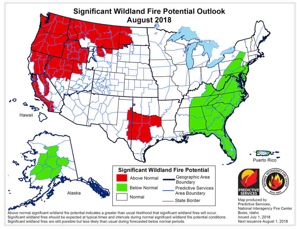 Wildfire potential for August through November