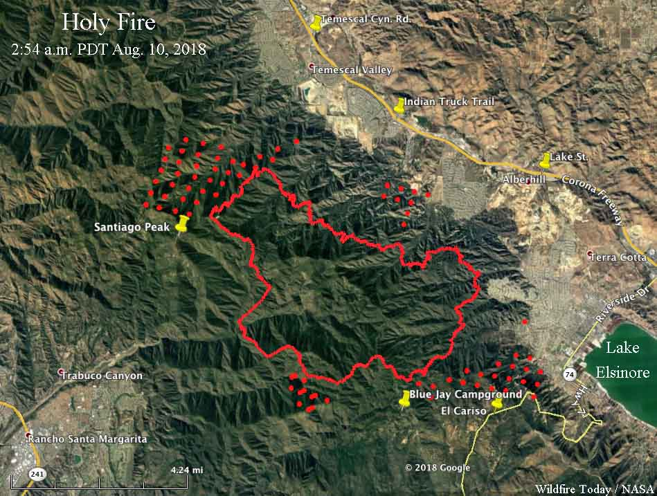 map Holy Fire California