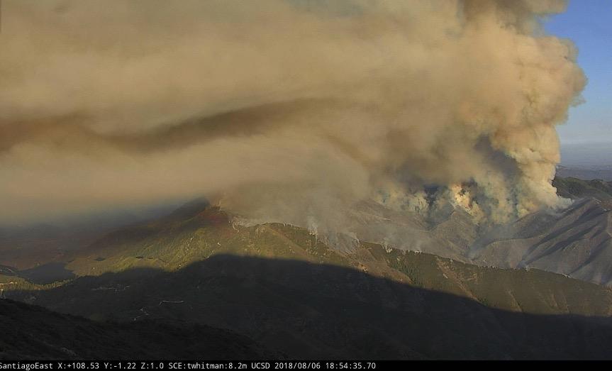 Brush fire burns in Santa Ana Mountains of Southern California