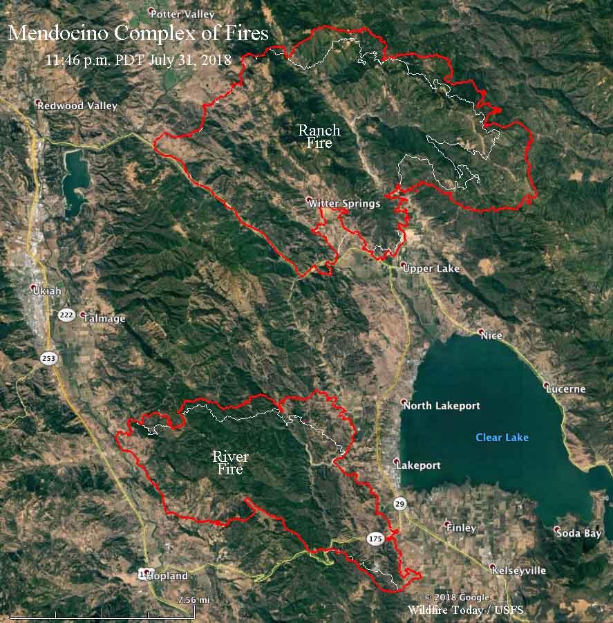 Mendocino Complex fires map