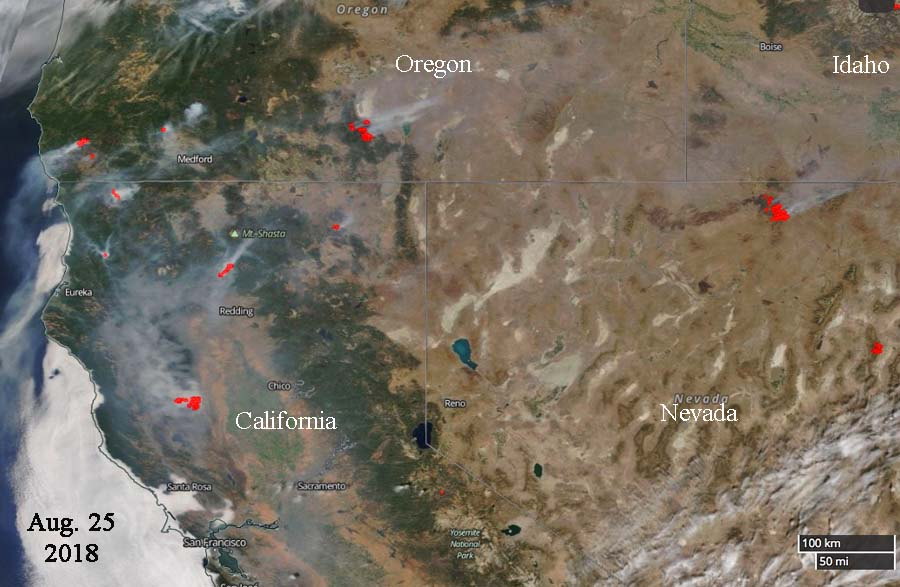 Satellite photo shows smoke from wildfires