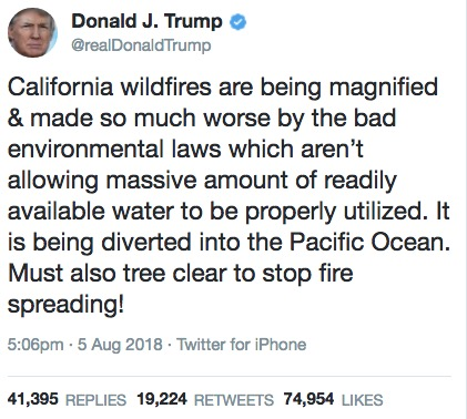trump tweet wildfires water diversion ocean fires
