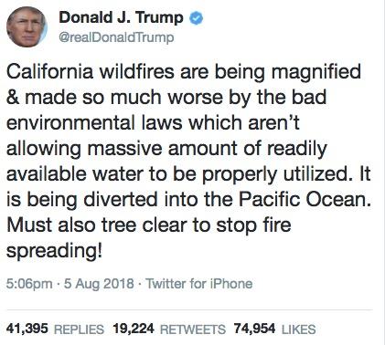 trump tweet wildfires water diversion ocean fires