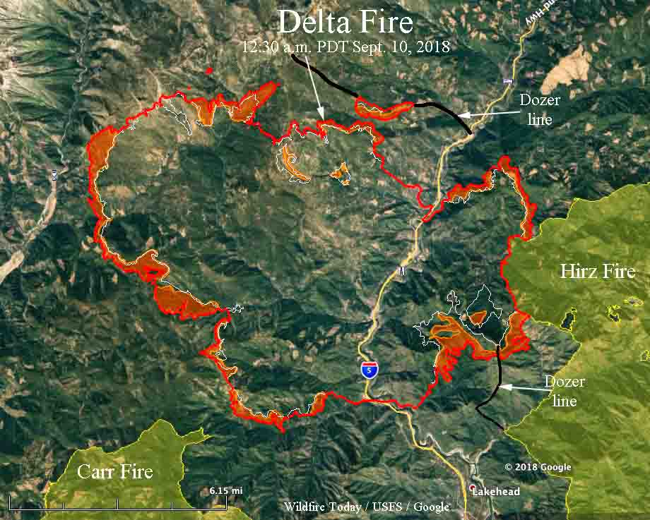 map Delta Fire California Interstate 5