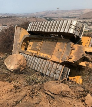 Dozer rollover, Holy Fire, 8-12-2018