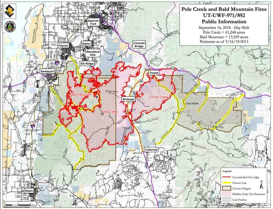 Map Pole Creek and Bald Mountain Fires