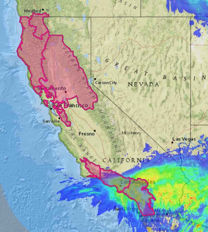 Red Flag Warnings precipitation california
