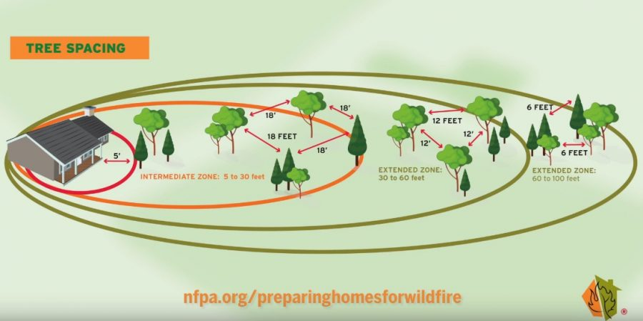 firewise wildfire risk home tree spacing