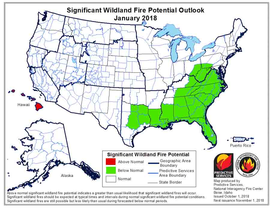 wildfire potential september through January