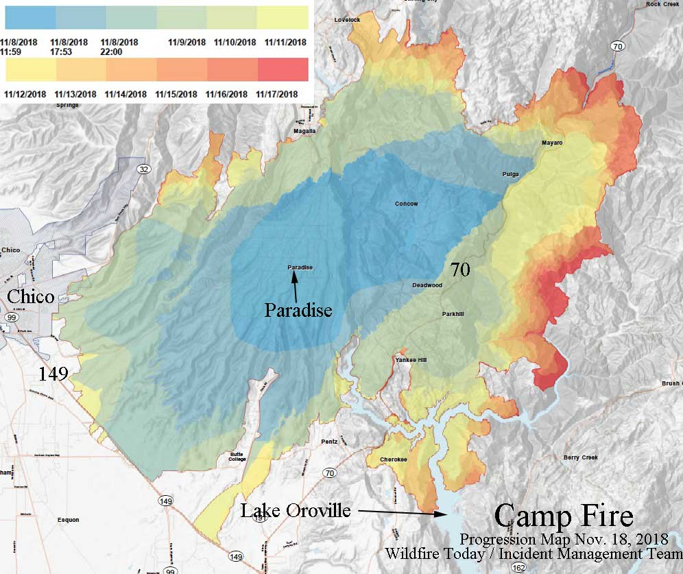 Progression map of the Camp Fire