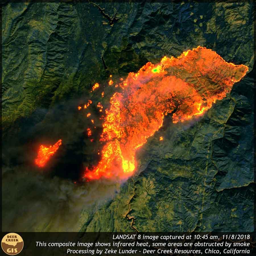 Camp Fire satellite photo 10:45 am Nov. 8, 2018. Zeke Lunder