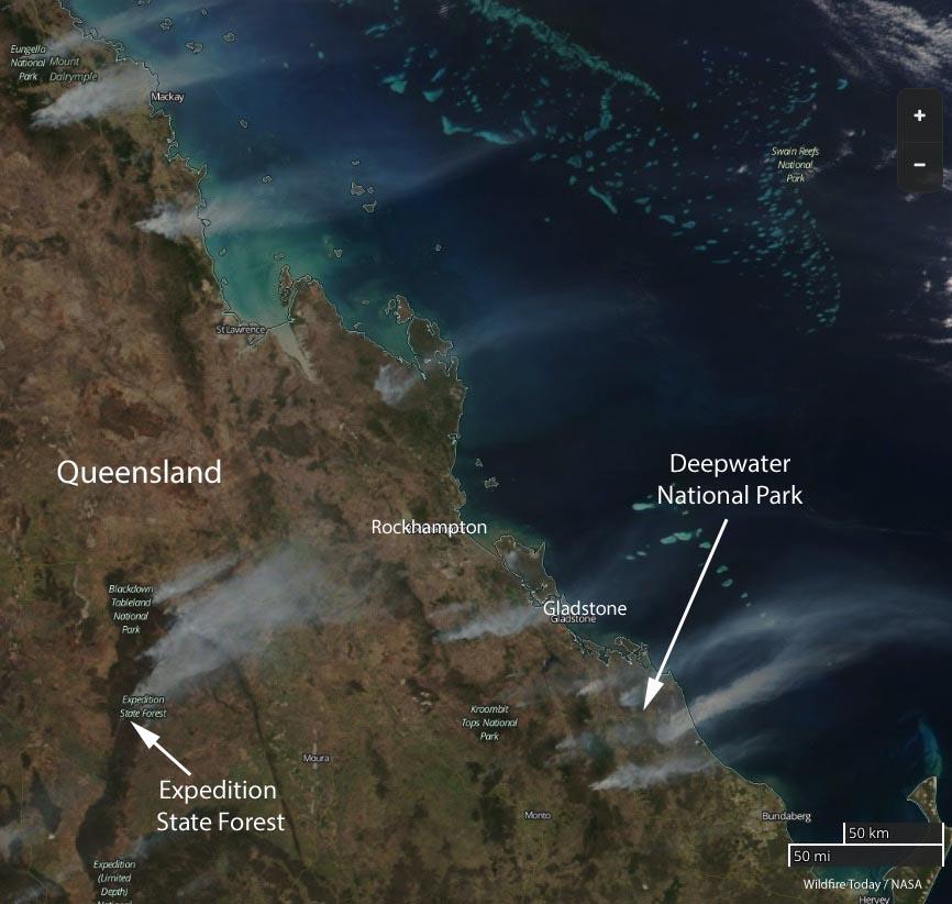 map wildfires Queensland Australia