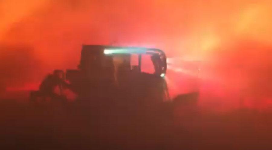 dozer winds fire wildfire