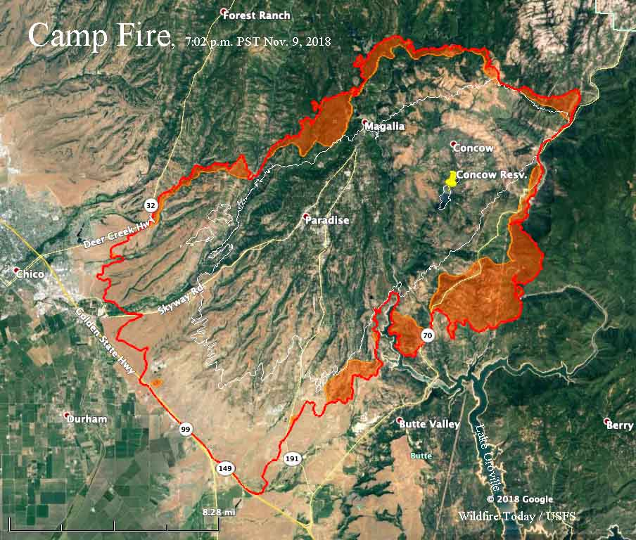 Map Campfire 702 Pm 11 9 Wildfire Today