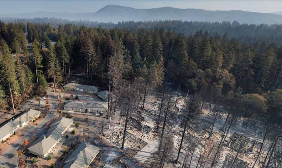 aerial photo Paradise Camp Fire