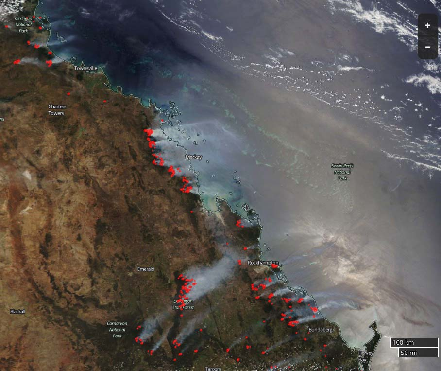 map wildfires in Queensland, Australia