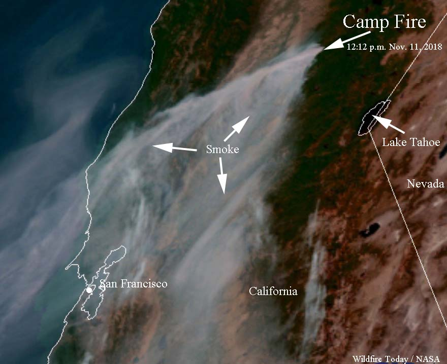 Satellite photo smoke Camp Fire Paradise California