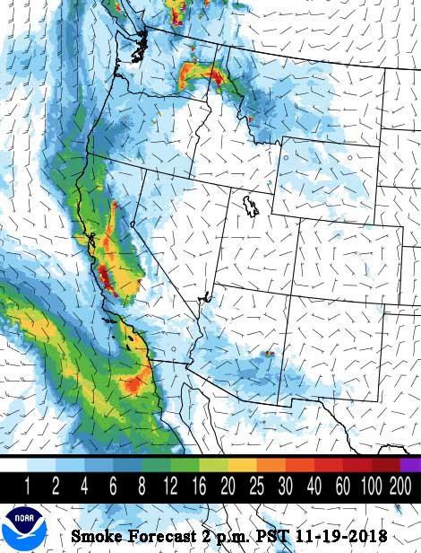 wildfire smoke forecast map