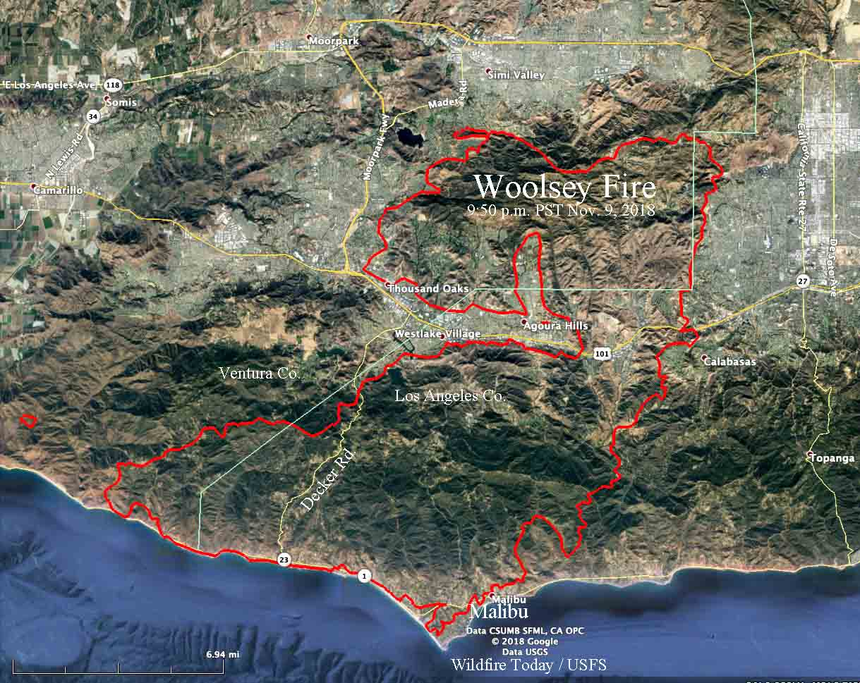 map Woolsey Fire