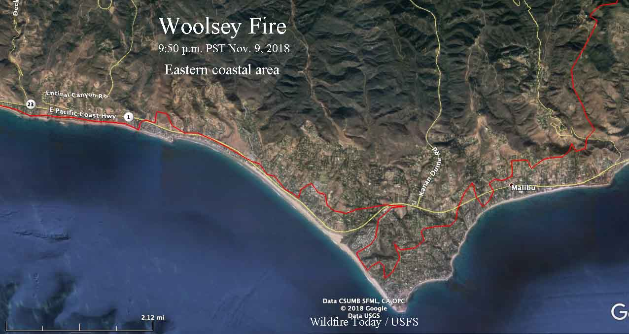 Woolsey Fire map coast Malibu