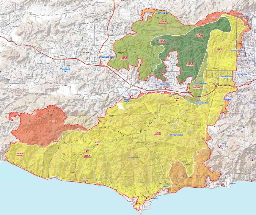 Progression map Woolsey Fire