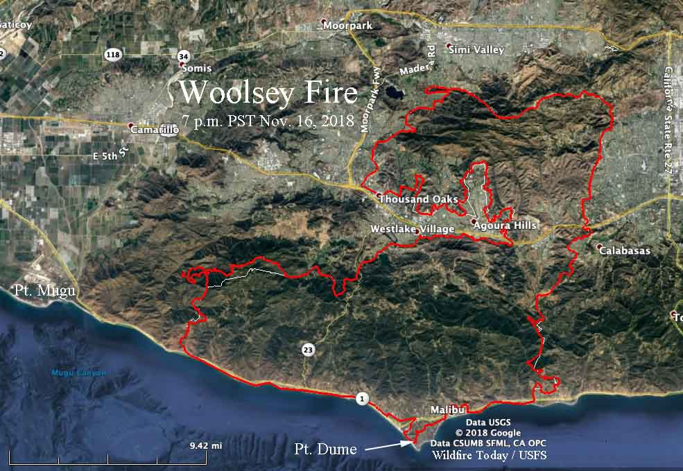 map of the Woolsey Fire