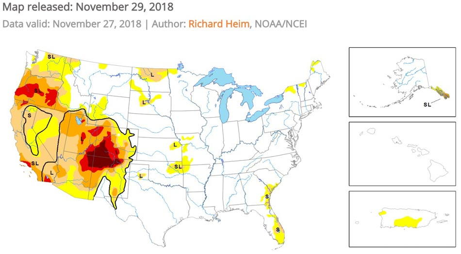 Drought monitor wildfire