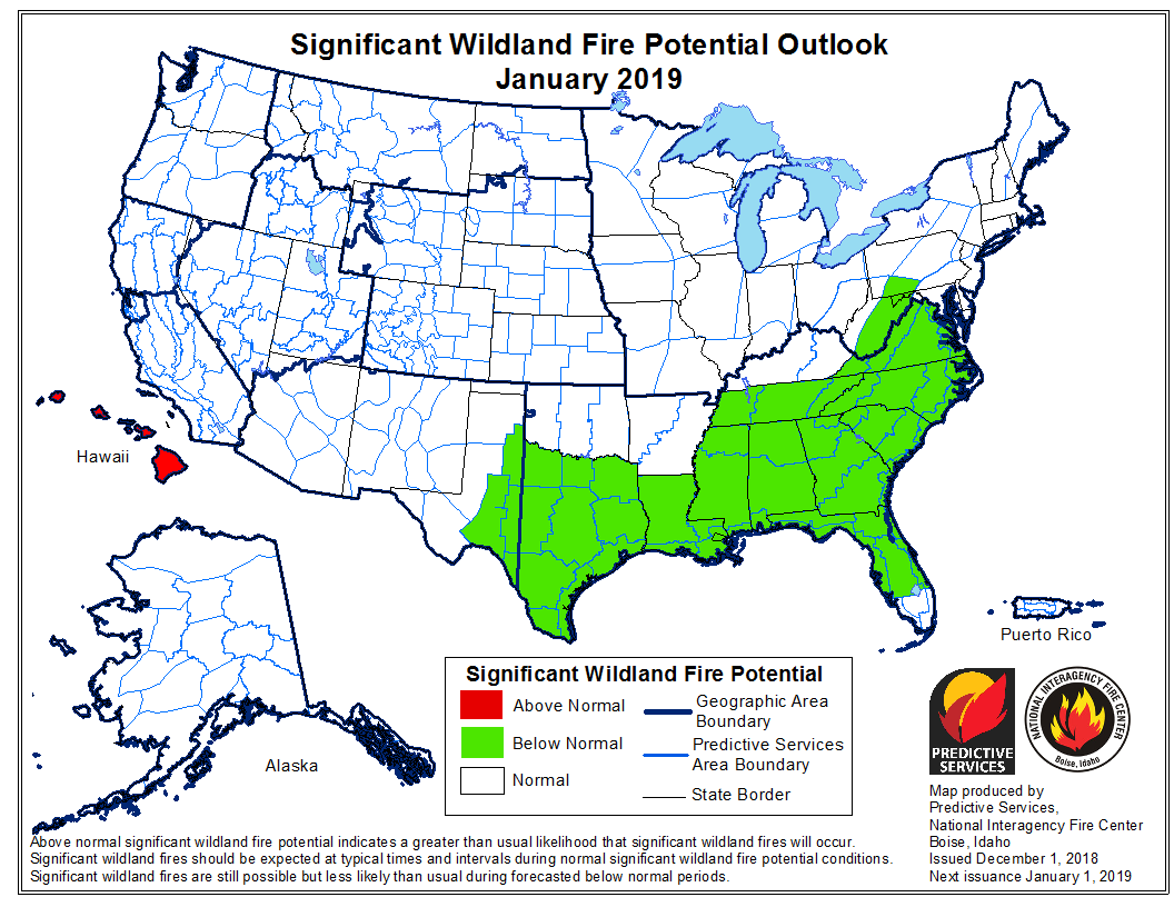 January wildfire outlook potential