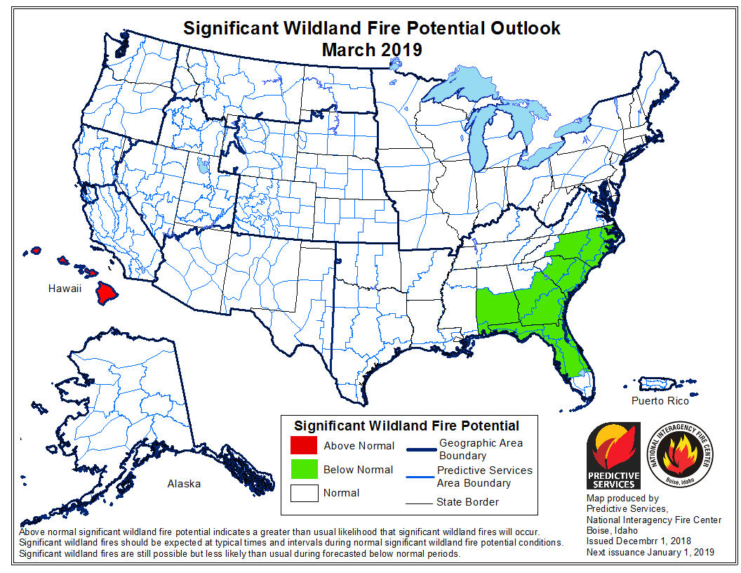 March wildfire outlook potential
