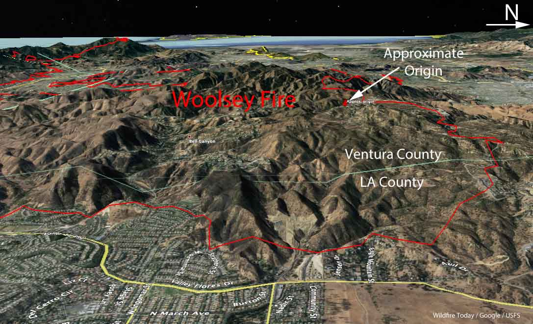 3D Map Woolsey Fire Ventura County Los Angeles d-D