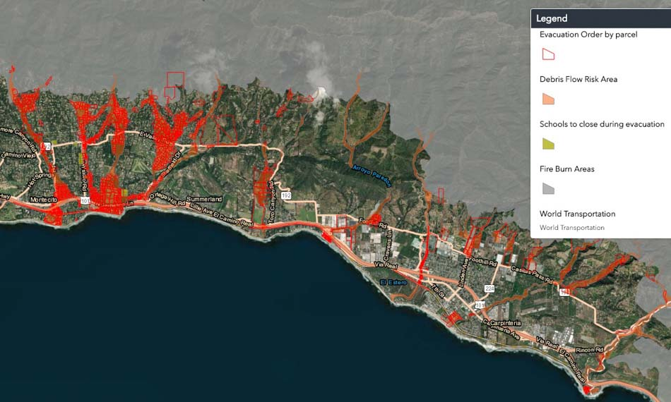 Fire debris flow flooding Santa Barbara evacuation map