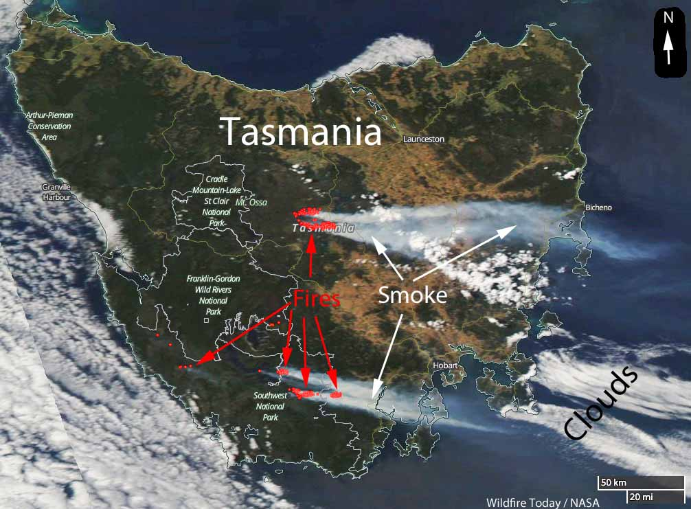 Climate change brings less rain with more dry lightning and wildfires to Tasmania