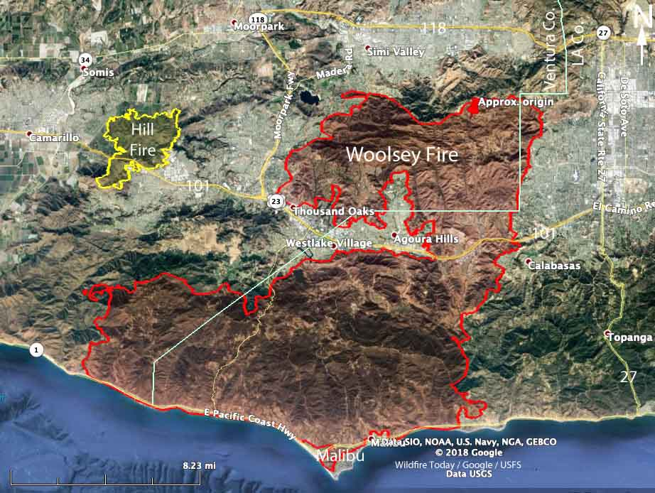 Map Woolsey Fire Ventura County Los Angeles