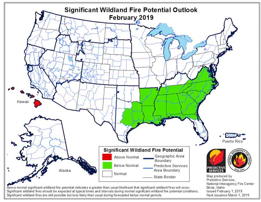 February wildfire potential outlook