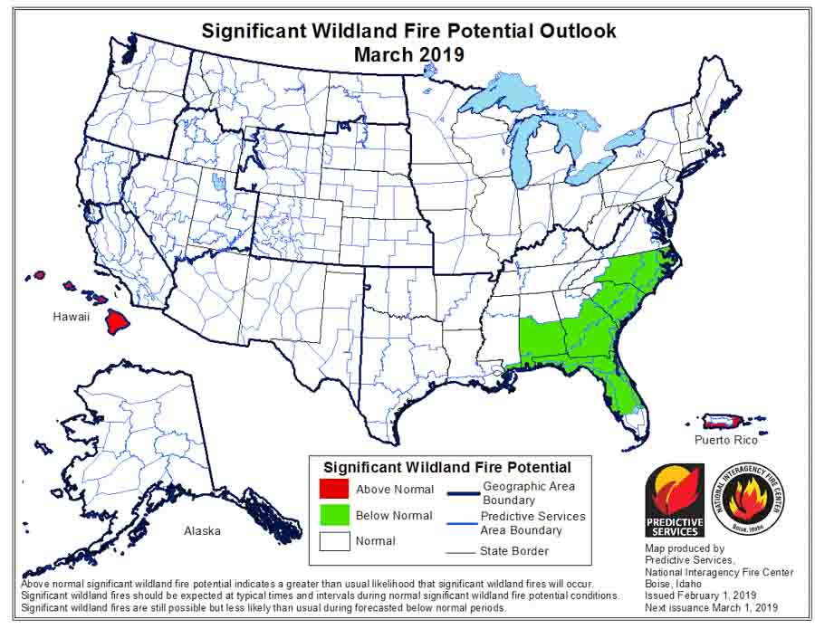 March wildfire potential outlook