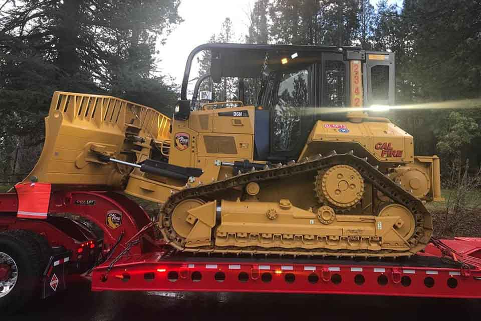 CAL FIRE dozer and transport