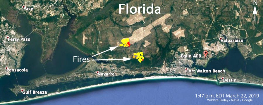 wildfires on Elgin Air Force Base map