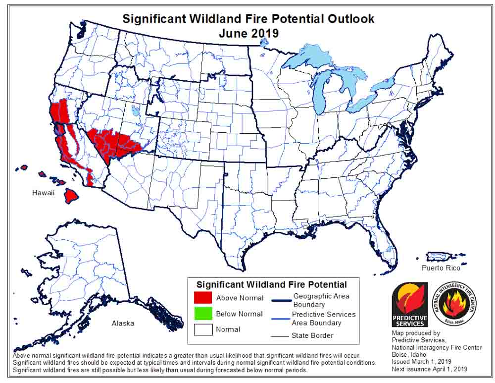 wildfire potential fire danger outlook forecast